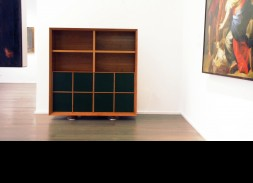 Cherrywood Madia cabinet with cherrywood and coacH hide doors